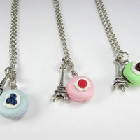 BFF Paris Macaron Necklace Friendship Necklace (3pcs) food jewelry food necklace