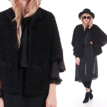 60s Black Stole Faux Persian Lamb Curly Evening Outerwear Goth Vamp Glam Capelet Shawl Shrug Cape Vintage Clothing Womens One Size Fits All