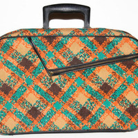Vintage 1960's Luggage Suitcase, Plaid Carry On, AD Sutton and Sons