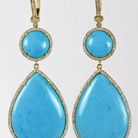 Sleeping Beauty Turquoise and Diamond Dangling Earrings