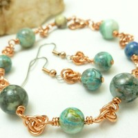Blue Crazy Lace Agate Copper Chainmaille Beaded Bracelet Earrings