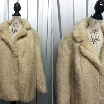 70's Faux Fur Coat Winter Blonde Fur Coat Beige Coat Vegan Fur Coat Boho Coat Bohemian Clothing Winter Coat Woman Fake Fur Coat