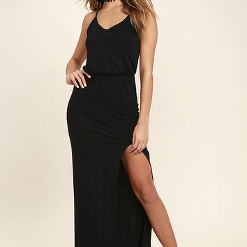 Watch the Sunset Black Maxi Dress
