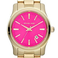 Women's Michael Kors 'Jet Set Sport' Watch, 38mm - Gold/ Hot Pink