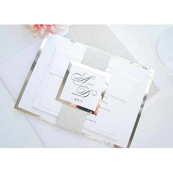 Elegant Glitter Wedding Invitations, Glitter Wedding Invite- SAMPLE SET