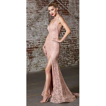 Full Length Fitted Sheath Dress Gold Glitter Lace Fabric Lace Up Corset Back