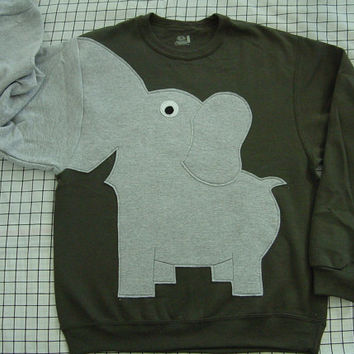 Fun Elephant Trunk sleeve sweatshirt mens L OLIVE green