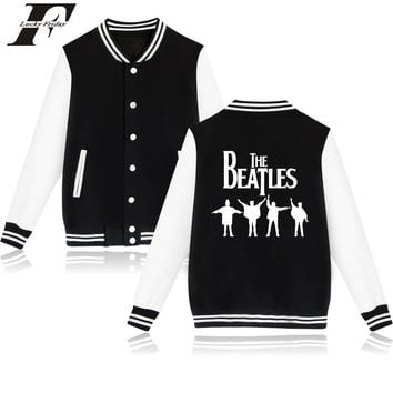 LUCKYFRIDAYF Beatles Baseball Jacket Women Fashion Streetwear Clothes For Couple Women Hoodies Sweatshirts White  And Pink 4XL