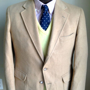 Vintage Men's Camel Hair Sack Cut 3/2 Roll Jos.A.Banks Sports Coat -- 42R - Wedding - Blazer - Groom - Retro