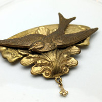 Vintage Gold Swallow Bird Brooch