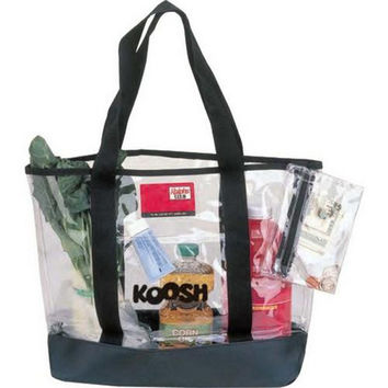Clear Tote Bag-Clear Vinyl w/Black Trim and Handle