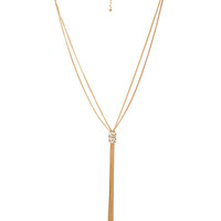 FOREVER 21 Chain-Tassel Rhinestone Necklace Gold/Clear One