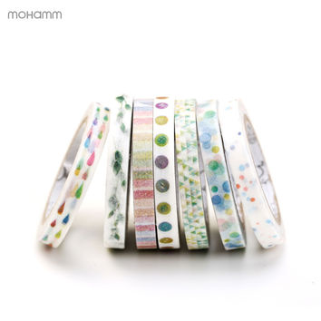 5MM Wide Japanese Masking Paper Washi Tape Cute Lotkawaii Colorful Slim DIY Scrapbooking Sticker Label School Office Supply