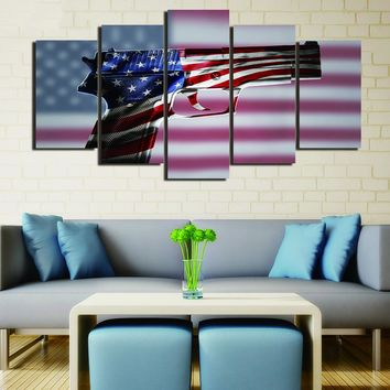 American Flag Gun 2nd Amendment Five Piece Canvas