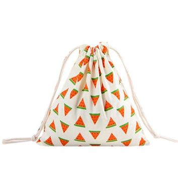 Watermelon Fruit Drawstring Bags Cinch String Backpack Funny Funky Cute Novelty