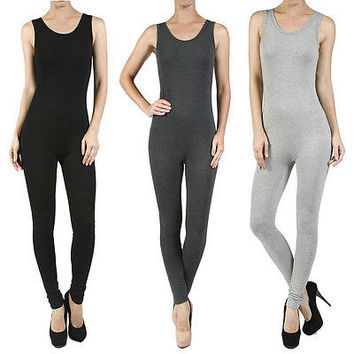 New Sexy Sleeveless Round Crew Neck Stretch Bodysuit Jumpsuit Size S M L AB2182