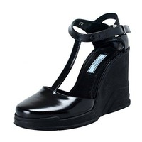 Prada Black Leather Ankle Wedges T-Strap Sandals Shoes