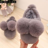 sponge mice  2017 Fall Winter Baby Infant Kids  Thick Cotton Padded Slippers Boys & Girls Fashion Indoor Cotton Shoes