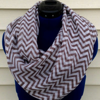 Infinity scarf - chevron print scarf - taupe and white chevron - boho - teen - women - loop scarf