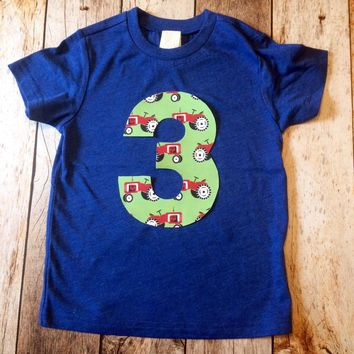 Red farm tractor birthday outfit 1 2 3 4 5 Birthday Shirt royal blue short sleeve green animal cow pig horse cowboy western cake favors
