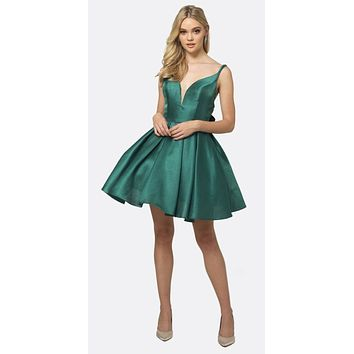 Short Party Dress Green A-Line Removable Back Bow