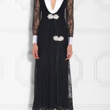 Lace-trimmed Robe Dress