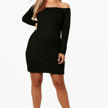 Plus Lianne Off The Shoulder Bodycon Dress | Boohoo