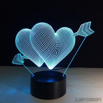 ♥ Two Hearts 3D Lamp🔮