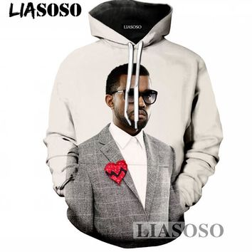 LIASOSO 3D Print Hip Hop Hoodies Sweatshirts Men/Women Pullovers Print Kanye West Casual Hooded Tracksuits Brand Clthing T722