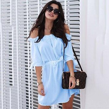 New Women Sexy Slash neck Solid Color Beach Dress Ruffled Half Sleeves Tied Bandwidth Loose Casual Belt Dress