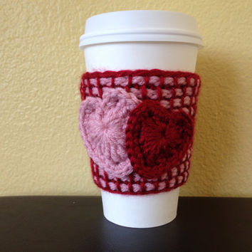 Heart Coffee Cup Cozy, Tunisian Crochet Coffee Cup Sleeve with Pink and Red hearts, Reusable Eco Friendly