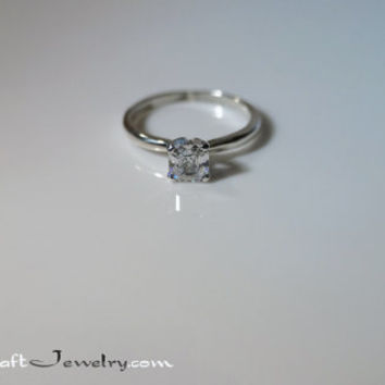 Asscher Cut CZ Promise Ring Small Cubic Zirconia Engagement Ring Classic Sterling Silver Solitaire .25-.87 Carat Diamond Simulant Sizes 2-13