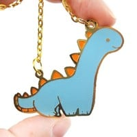 Adorable Brontosaurus Dinosaur Shaped Animal Pendant Necklace | Unique Handmade Jewelry | redditgifts