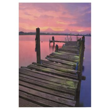 Rickety Lake Pier Sunset Photography Wood Poster