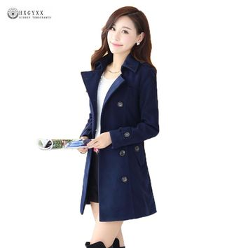 Bayan Kaban Winter Trench Coat 2017 South Korea Latest Ladies Fashion Elegant Solid Super Slim Double-breasted Clothes G0081