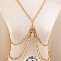 Fashion Jewelry ~ Goldtone Body Chain Accented with Clear Crystal Rhinestones (Style COD0017 Gld):Amazon:Jewelry