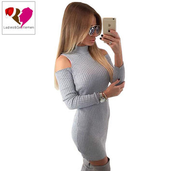 Sexy Off Shoulder Gray Knitted Autumn Dress Women 2016 Winter Evening Party Bodycon Sweater Dresses Christmas Vestidos  10813