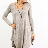 Ramble On Heather Mocha Long Sleeve Tunic Dress