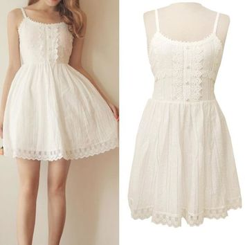 Japanese Mori Girl Sweet Princess White Lace Up Dress Cute Lolita Kawaii Cotton Lace Party Dress Vestidos Women Summer Tunique