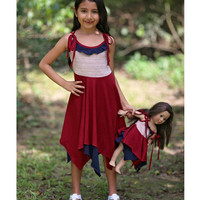 Burgundy & Navy Sunshine Pixie Dress & Doll Dress - Kids & Tween