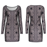 Retro Long Sleeve Printed Bodycon Dress