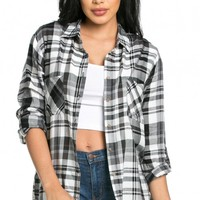 Front Pocket Button Up Plaid Flannel in Black and White