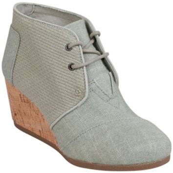 TOMS Agate Desert Wedge Burlap Textured LT-GN Wedge Boot