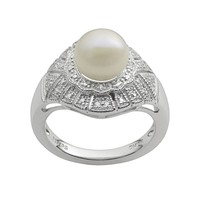 Sterling Silver Freshwater Cultured Pearl & White Zircon Ring