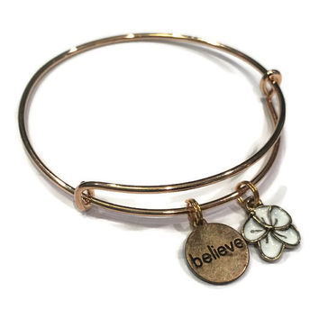 Believe Charm Bracelet - Flower Charm Bracelet - Alex and Ani Inspired - Adjustable Bangle Bracelet - Inspirational Jewelry - Gold Jewelry