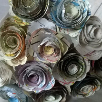 """Old Gas station road map Roses on stems, 1.5"""" Paper flowers bouquet, one dozen, recycled art, bridal shower decoration party decor one dz 12"""