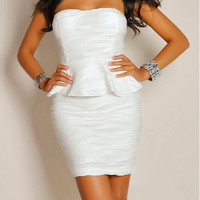 White Strapless Bodycon Flounce Dress