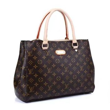 PEAPON LV Women Shopping Leather Tote Handbag Shoulder Bag Coffee