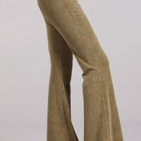Chatoyant Mineral Wash Flare Pants in Pale Olive