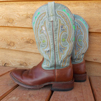 Ariat Boots - Colorful Orange Green and White Stitching - Glitter - Painted Turquoise / Green on top design - Brown Cowboy Boots - Western